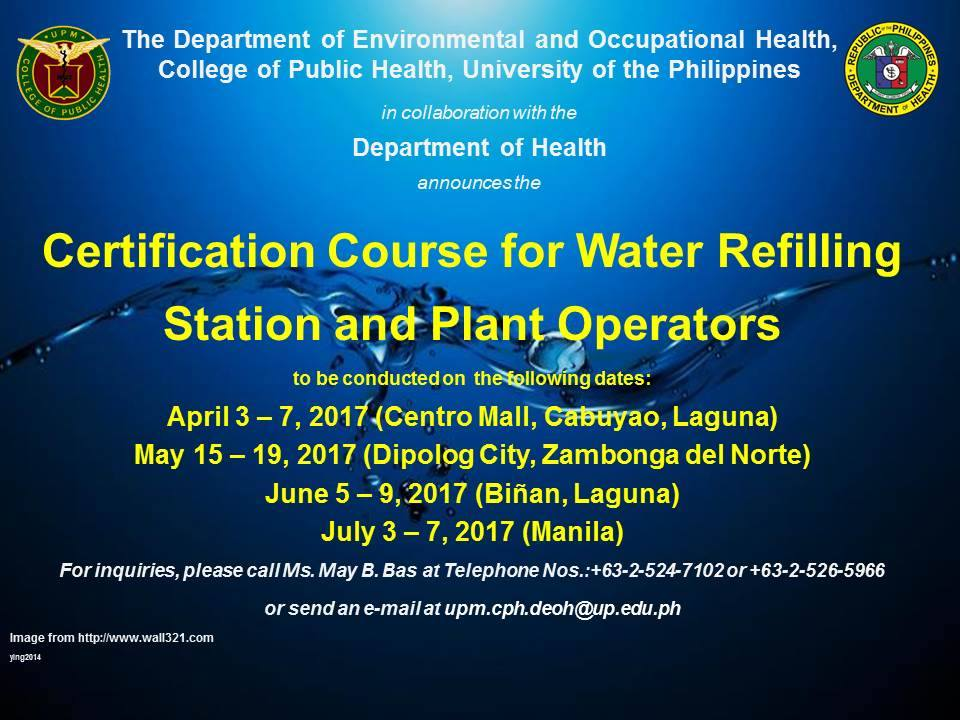 Certification Course For Water Refilling Station And Plant Operators